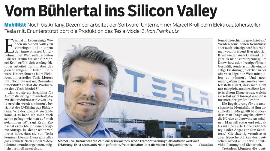 Zeitungsartikel Marcel Krull bei Tesla. Titel Vom Bühlertal ins Silicon Valley. Automatisierung Marcel Krull- Software