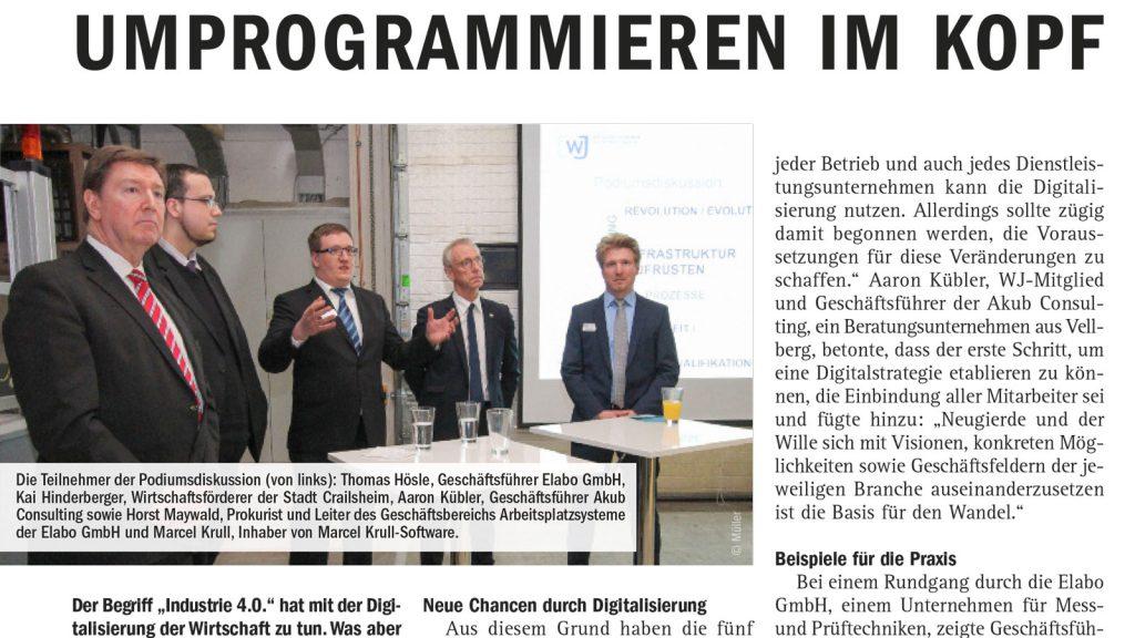 Zeitungsartikels Industrie 4.0 und Digitalisierung Marcel Krull- Software