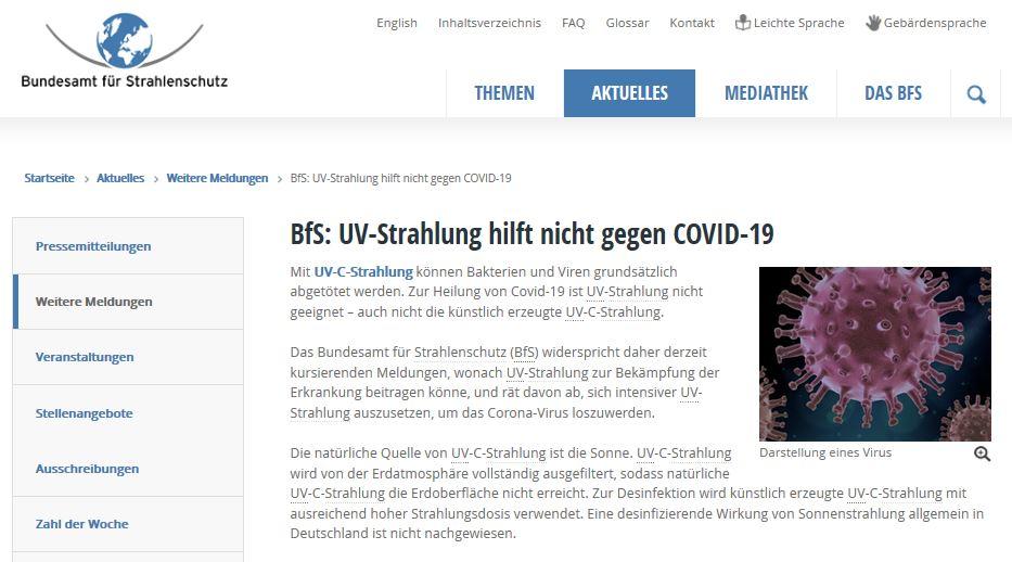 bfs uVC Strahlung Covid