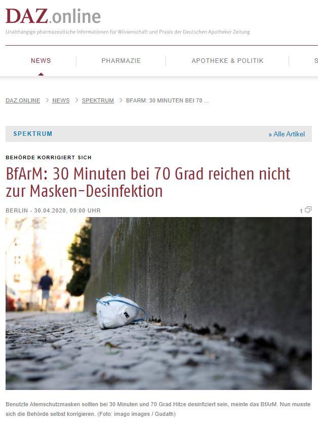 DAZ.online News Spektrum BfArM: 30 Minuten bei 70 ...